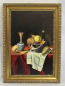 Golden Age Style Still Life by J.Reed Oil on Board