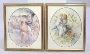Pair of Oval Prints Mounted & Set in Gilt Frames