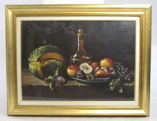 Italian Still Life J.Barozzi Oil on Canvas Set in Gilt Frame