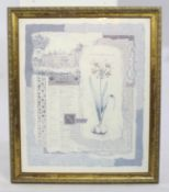 Large Contemporary Print Set in Gilt Frame