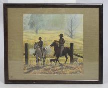 Original Cowboys Pastel Painting Framed