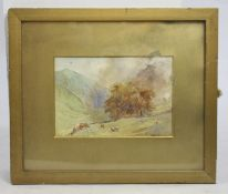 Victorian Cattle Grazing Landscape Watercolour S.Austin
