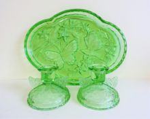 Sowerby Art Deco Green Glass Dressing Table Set