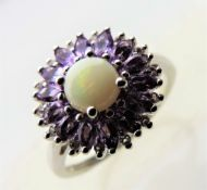 Tanzanite and Opal Cluster Ring in Sterling Silver
