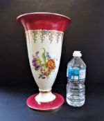 Vintage JKW Bavaria Western Germany Hand Painted Vase 30cm tall