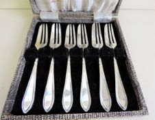 Cased Set Antique Silver Plated Pastry Forks