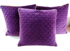 Set of 3 Purple & Gold Velvet Feather Cushions