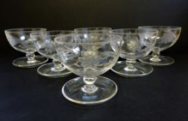 Set of 6 Antique Edwardian Etched Glass Dessert/Sundae Dishes
