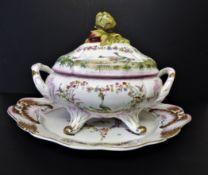 Antique Sevres Porcelain Soup Tureen & Platter Sevres Mark on Base 44cm Long