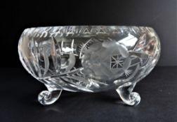 Vintage Bohemian Crystal Footed Bowl 23cm Wide