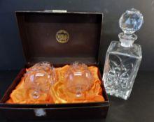 Thomas Webb Crystal Brandy Glasses & Decanter Drinks Set