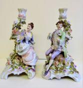Pair of Antique German C.G. Schierholz & Sohn Porcelain Candlesticks
