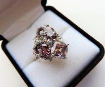 Sterling Silver Designer Trio of Topaz Gemstone Ring