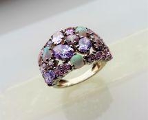 Rainbow Multi Gemstone Cluster Ring