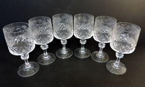 Set of 6 Antique Art Nouveau Cut & Etched Crystal Wine Glasses c.1900-1910