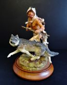 Franklin Mint 'Wolf Runner' Porcelain Figurine Sculpture R.J. Murphy