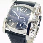 Bvlgari / Assioma Chronograph Blue Dial AA 44 S CH - Gentleman's Steel Wrist Watch