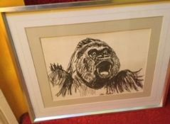 John Bratby (1928-1992) A Gorilla Pencil Drawing