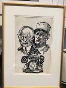 """President De-Gaulle and President Adenauer"" by John Bratby"