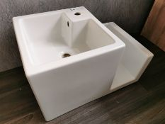 Althea Wall Hung Designer Porcelain Sink & Towel Belfast-Style Storage Unit RRP £700