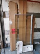 Assorted goods including 3x Wash Surfaces, an ex-display L-Shaped Bathscreen + Two Sinks