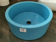 British-Made Designer Ceramic Blue Washbowl Basin RRP £289