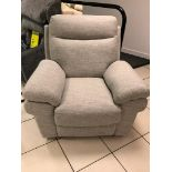 Brand new boxed Tanya electric reclining fabric arm chair in pebble