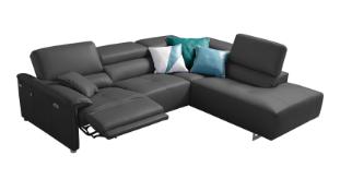 'BOLERO' Corner Sofa - Power Recliner - Dark Grey Italian Leather Right Hand Chaise RRP £3999