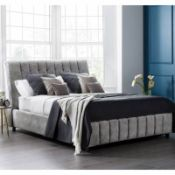 Brand new boxed 5'0 (kingsize) Roma bedstead in ashley grey fabric