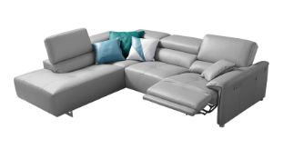 'BOLERO' Corner Sofa - Electric Recliner - Light Grey Italian Leather Left Hand Chaise RRP £3999