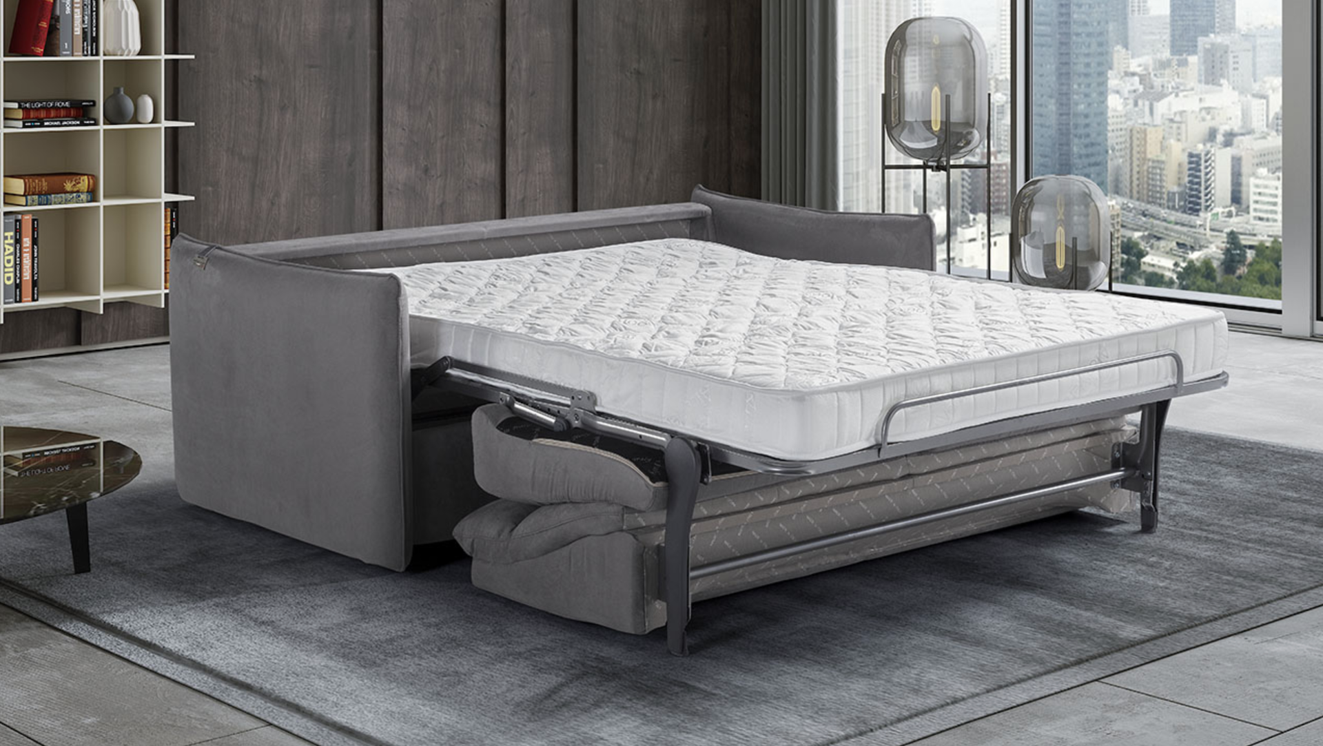 'AIMEE' Italian Crafted 3 Seat Sofa Bed in PLAZA SILVER RRP £1979 - Image 4 of 5