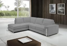 EGOISTE' Corner Sofa - Light Grey Italian Leather Left Hand Chaise RRP £3499
