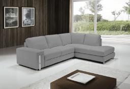 EGOISTE' Corner Sofa - Light Grey Italian Leather Right Hand Chaise RRP £3499