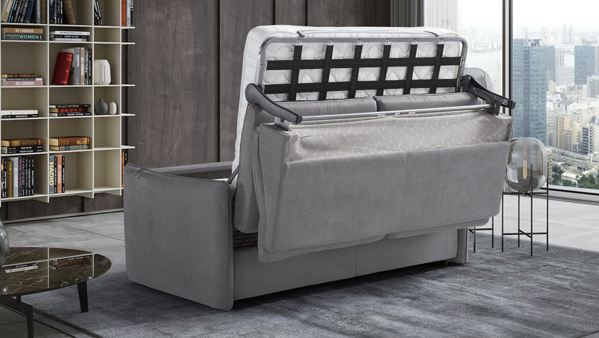 'AIMEE' Italian Crafted 3 Seat Sofa Bed in PLAZA SILVER RRP £1979 - Image 3 of 5