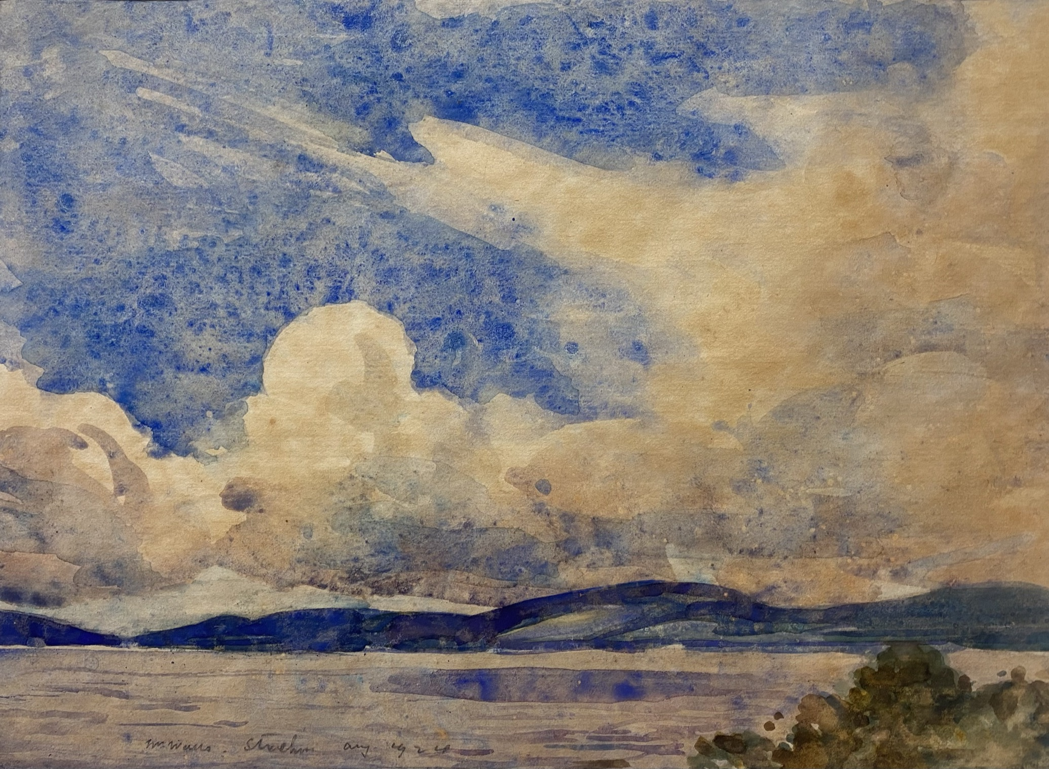 """William Walls 1860-1942 ARSA, RSW, RSA signed watercolour """"Cloudy day Strathcurr"""""""