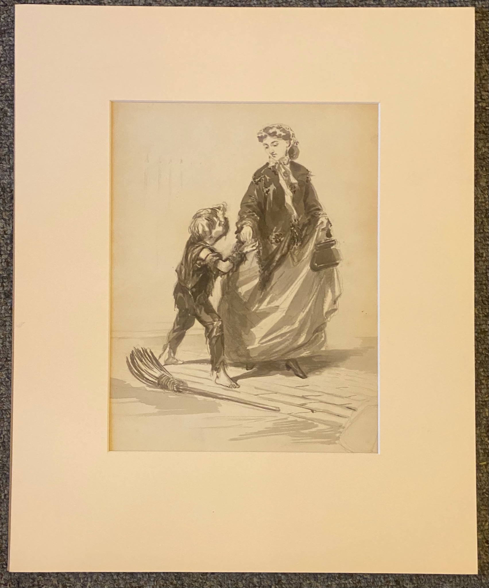 Manner of Erskine Nicol unsigned original drawing Sweep and Lady - Image 2 of 2