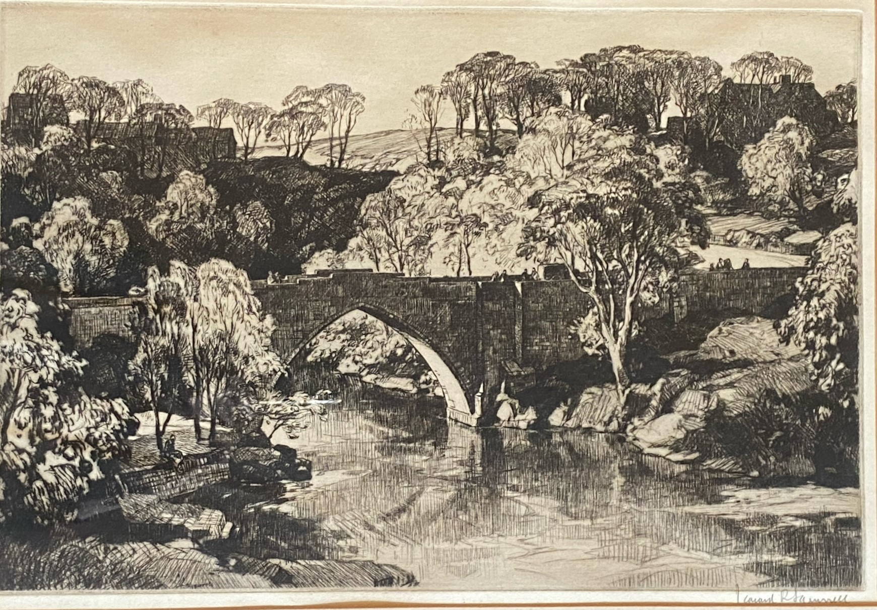 Leonard Russell Squirrel (RWS, RE, RI, PS, SGA 1893-1979) signed etching Brig O'Gowrie Deeside