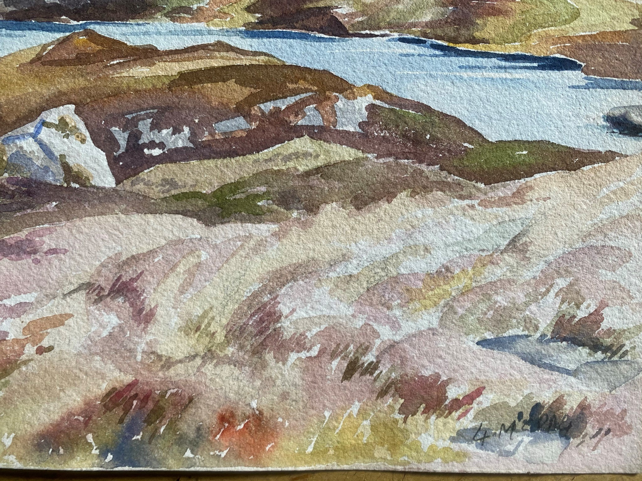 Watercolour signed G. M. Craig, (Gertrude Mary) Quinaig - Image 2 of 4