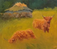 Marion De'Ath signed oil on board Highland cattle
