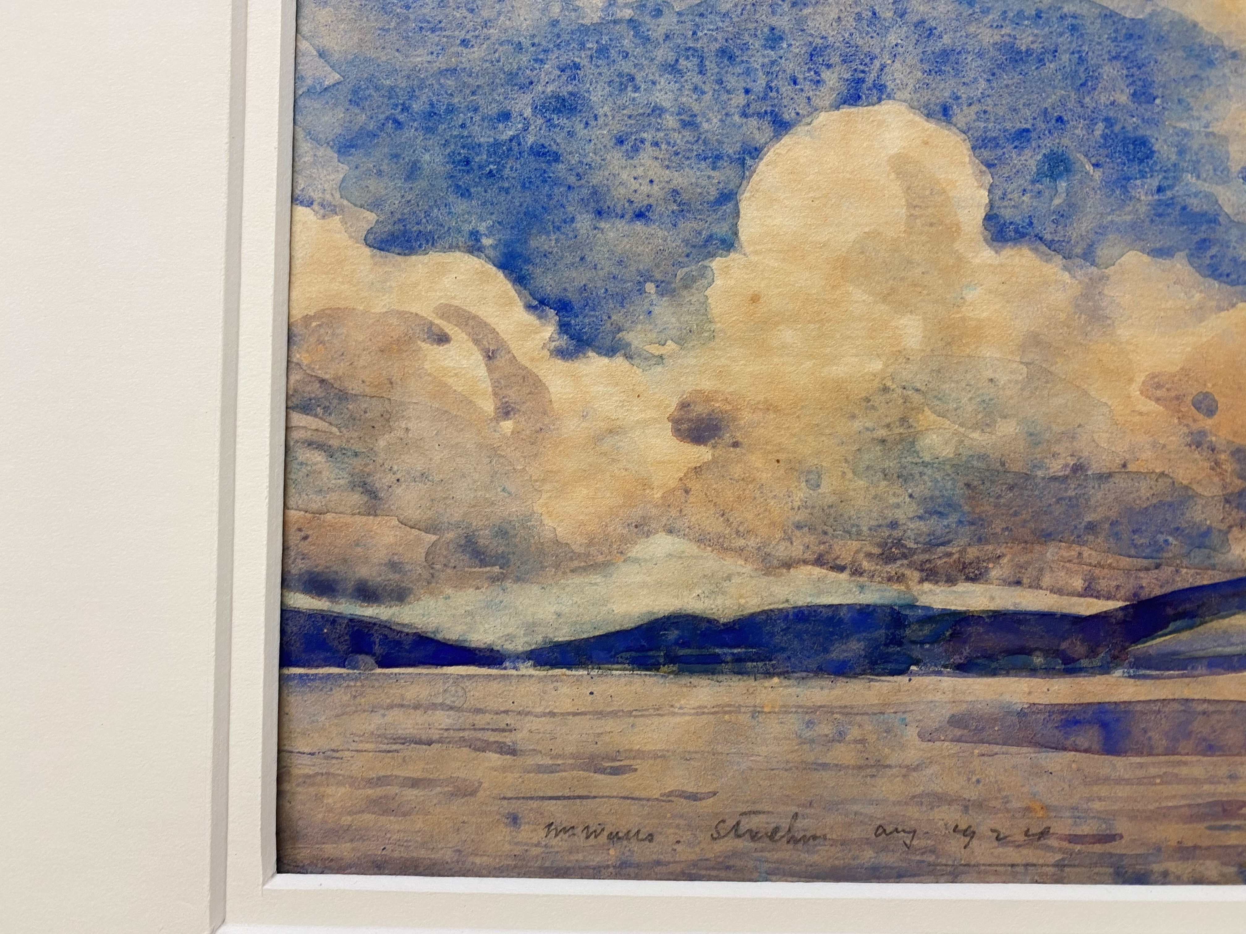 """William Walls 1860-1942 ARSA, RSW, RSA signed watercolour """"Cloudy day Strathcurr"""" - Image 4 of 4"""