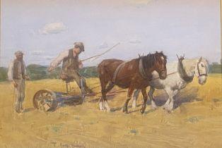 "Thomas Austen Brown (1857 - 1924) Scottish signed watercolour ""Horse Plough Team"""
