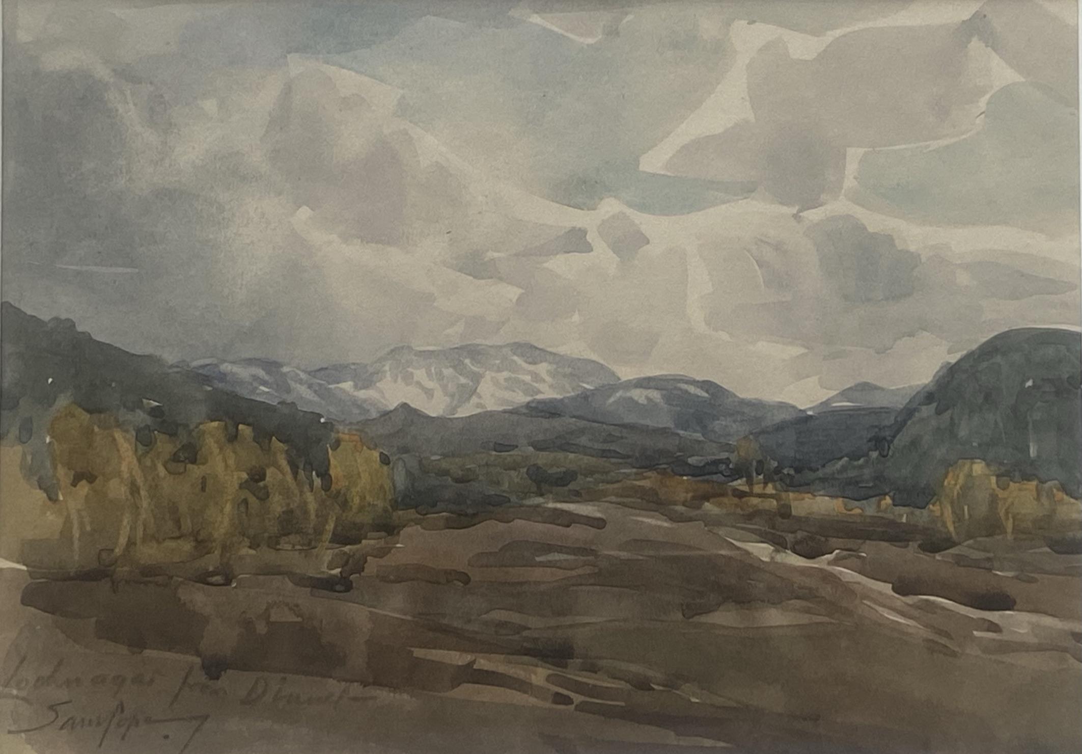 "Samuel Pope (British, active 1896-1940) signed watercolour ""Loch Na'Gar"""