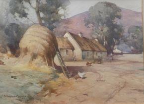 Robert Russell Macnee signed watercolour haystacks in farmyard