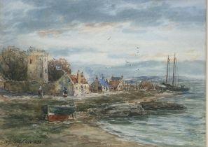"John Hamilton Glass ""Kirkcaldy harbour"" signed watercolour"