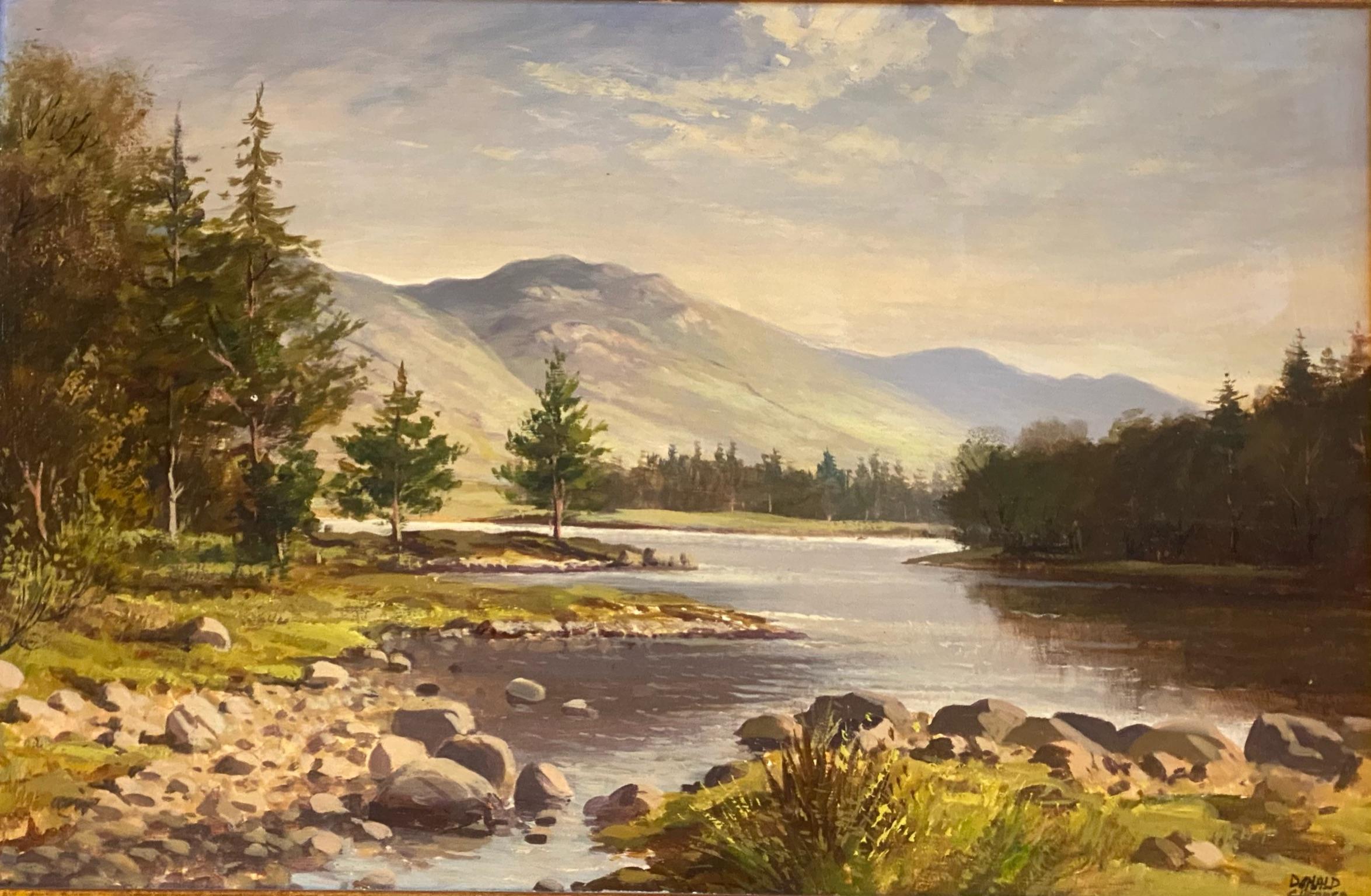"Donald M Shearer (Scottish) Original signed oil Scottish View ""Loch Morlich"" Donald"