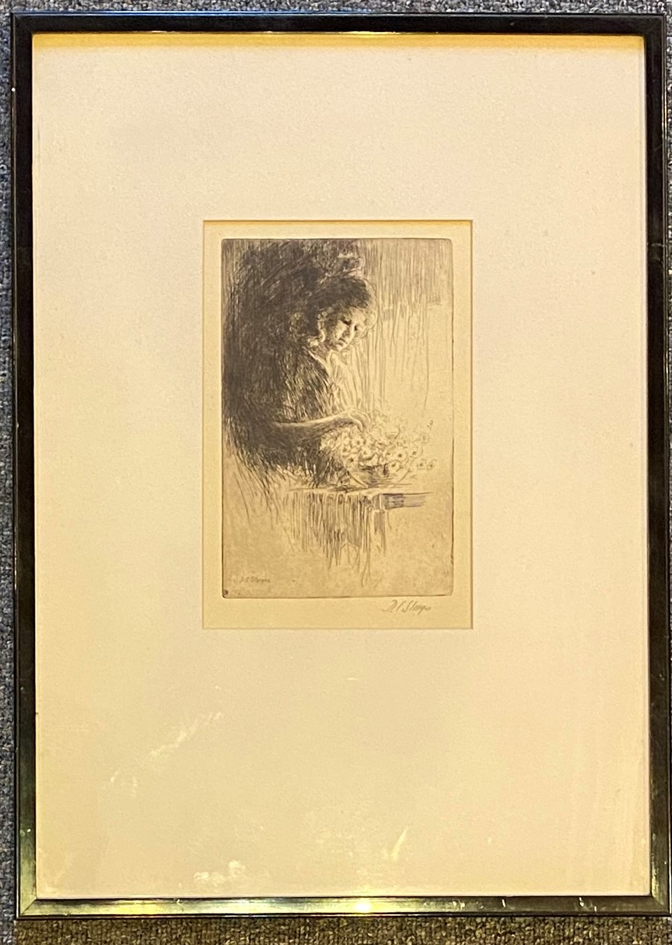 """""""Marguerite"""" by Dwight Case Sturges 1874- 1940 Pencil signed Etching - Image 4 of 4"""