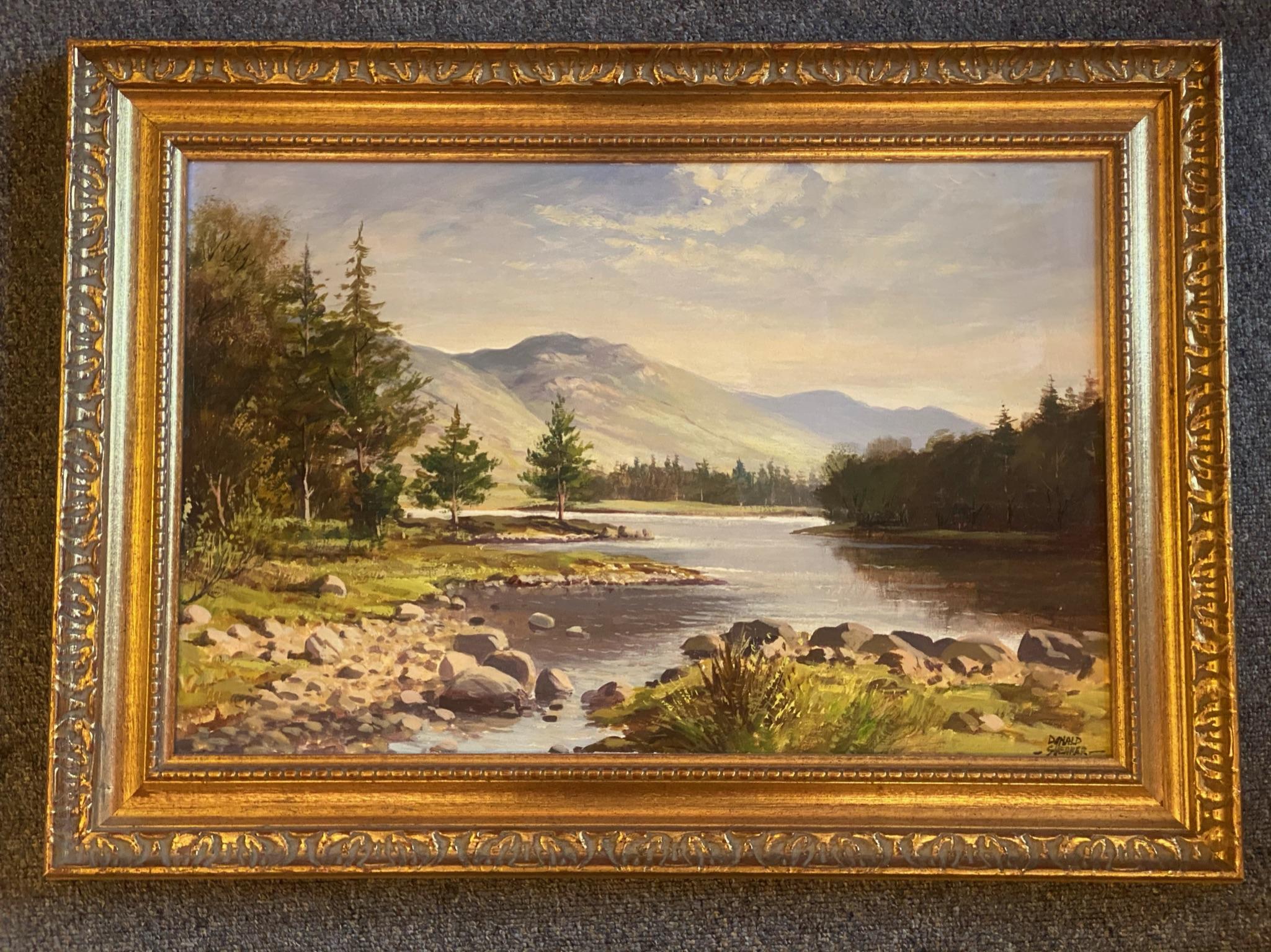 "Donald M Shearer (Scottish) Original signed oil Scottish View ""Loch Morlich"" Donald - Image 4 of 5"