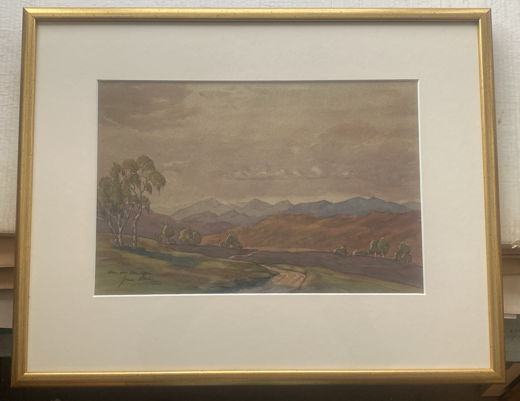 """John Ritchie (Scottish) signed watercolour """"Storm over the Glen"""" - Image 2 of 3"""