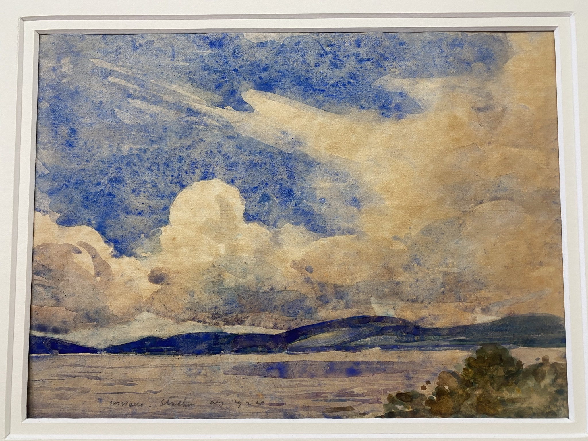 """William Walls 1860-1942 ARSA, RSW, RSA signed watercolour """"Cloudy day Strathcurr"""" - Image 3 of 4"""