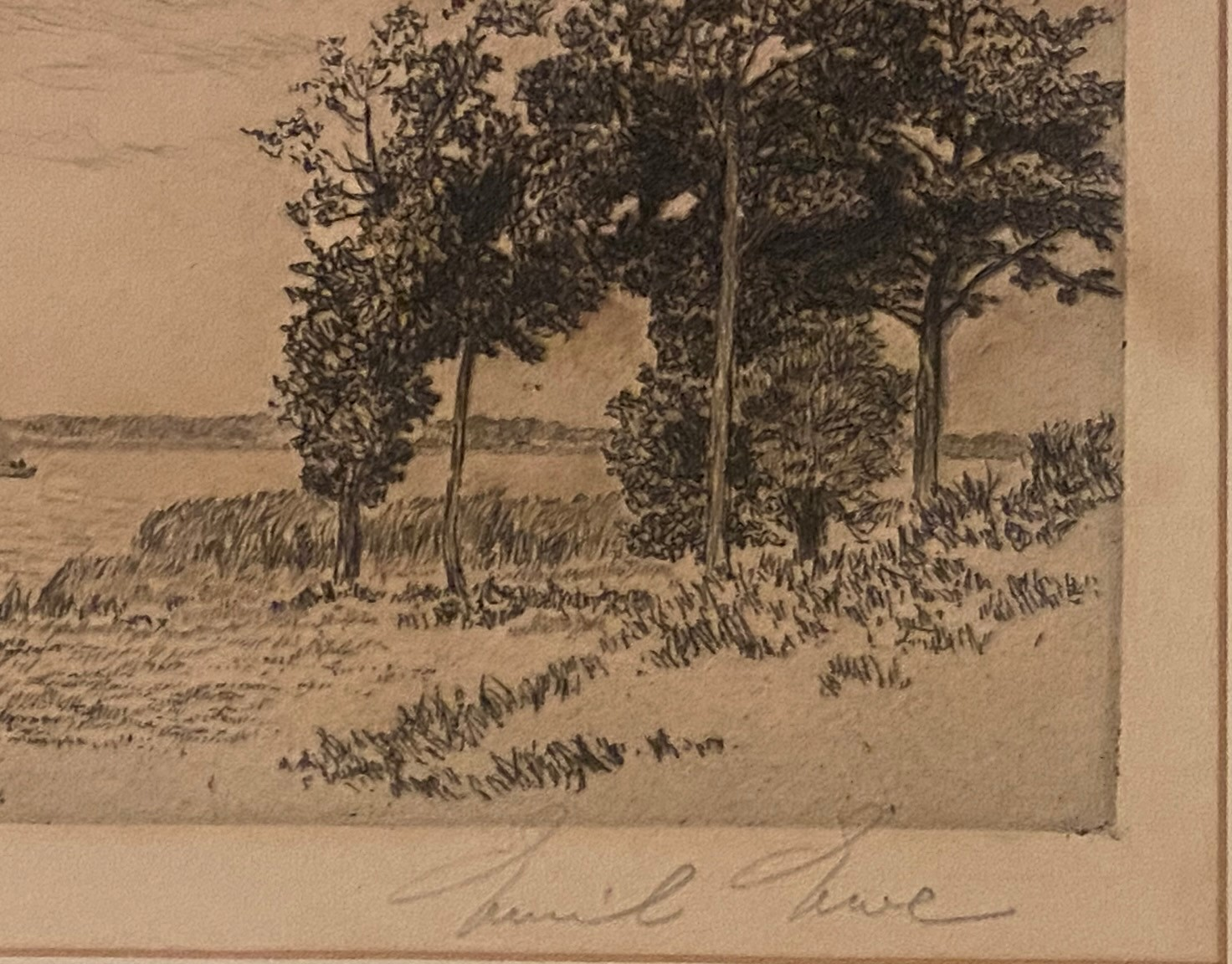 Etching Scottish Highland loch scene indistinctly signed in pencil - Image 3 of 3